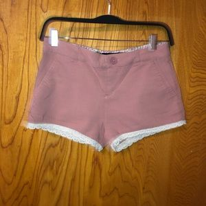 * 3 for $20* Blush pink shorts with white lace